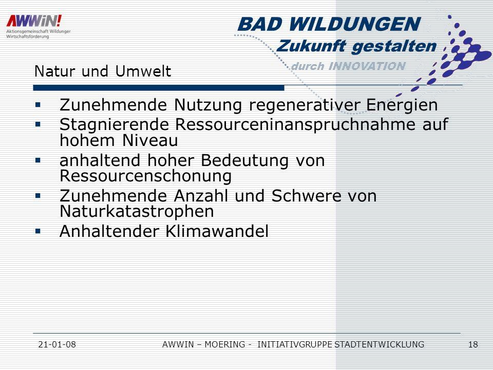 Zukunft gestalten durch INNOVATION BAD WILDUNGEN 21-01-08AWWIN – MOERING - INITIATIVGRUPPE STADTENTWICKLUNG 18 Natur und Umwelt Zunehmende Nutzung reg