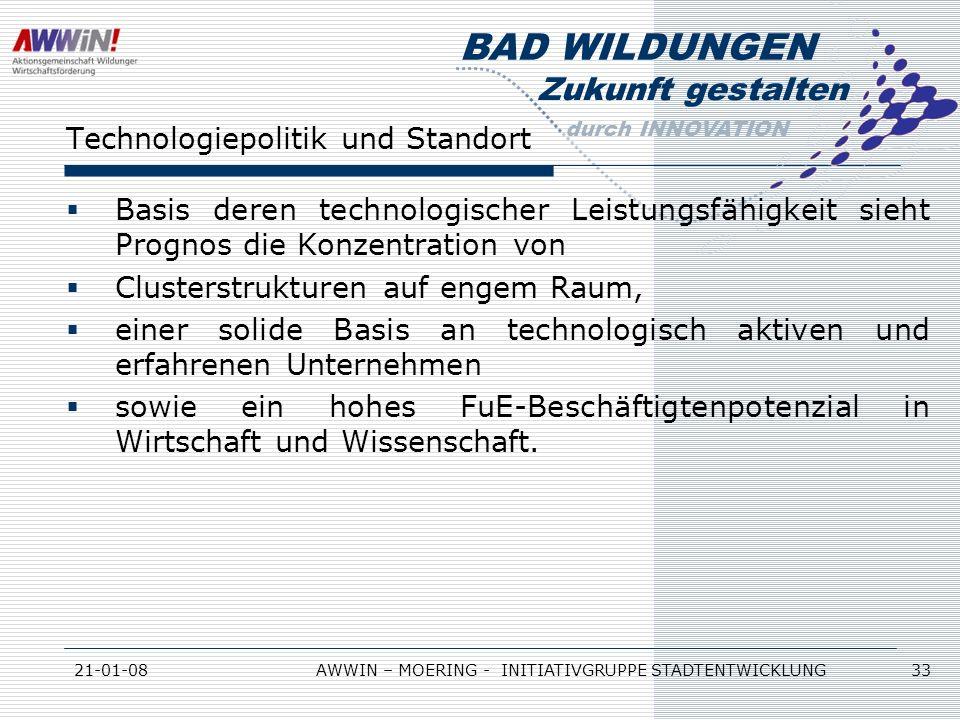 Zukunft gestalten durch INNOVATION BAD WILDUNGEN 21-01-08AWWIN – MOERING - INITIATIVGRUPPE STADTENTWICKLUNG 33 Technologiepolitik und Standort Basis d