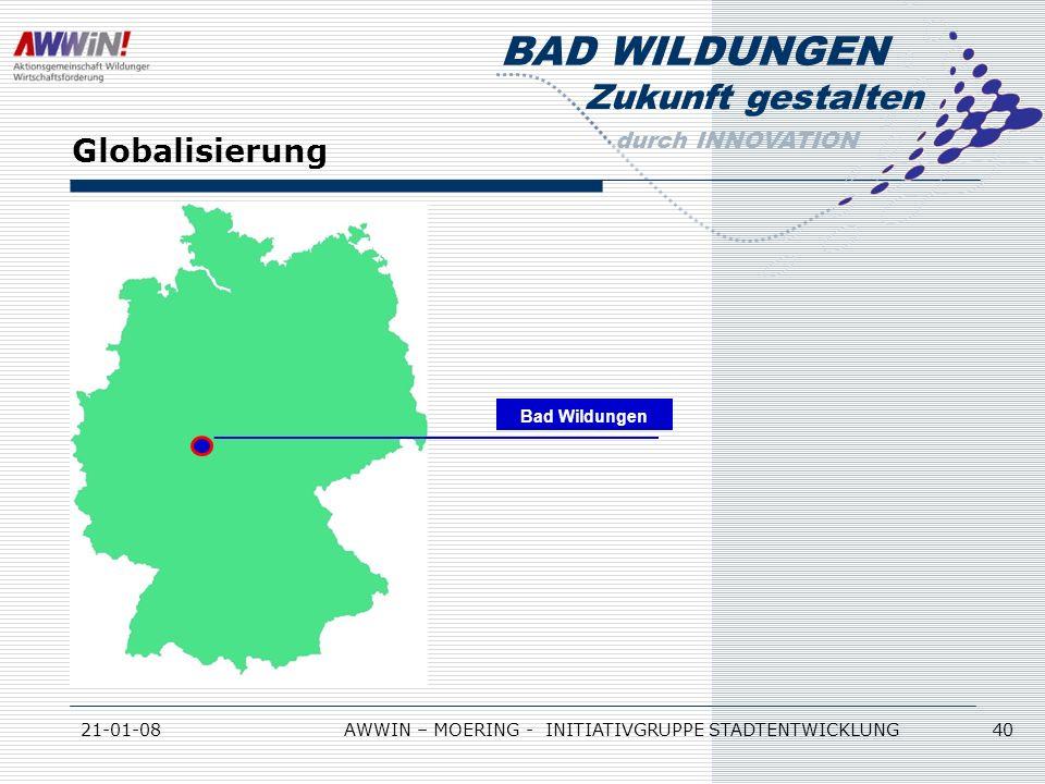 Zukunft gestalten durch INNOVATION BAD WILDUNGEN 21-01-08AWWIN – MOERING - INITIATIVGRUPPE STADTENTWICKLUNG 40 Globalisierung Bad Wildungen