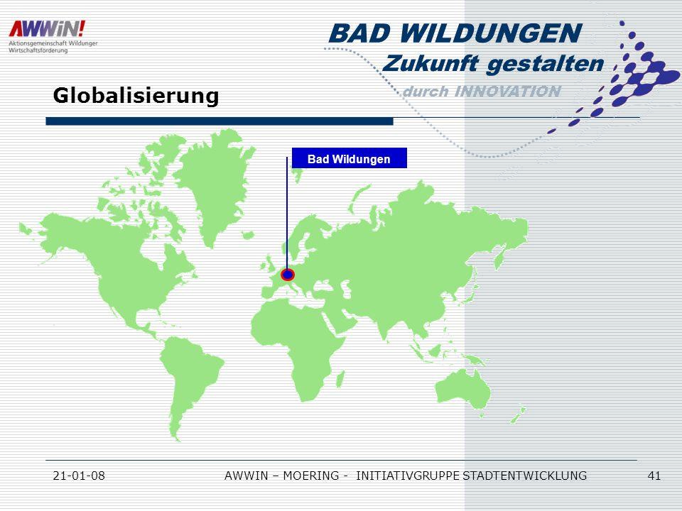Zukunft gestalten durch INNOVATION BAD WILDUNGEN 21-01-08AWWIN – MOERING - INITIATIVGRUPPE STADTENTWICKLUNG 41 Globalisierung Bad Wildungen