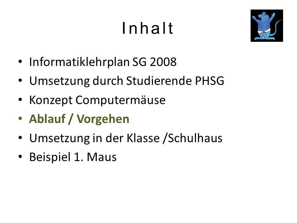 Inhalt Informatiklehrplan SG 2008 Umsetzung durch Studierende PHSG Konzept Computermäuse Ablauf / Vorgehen Umsetzung in der Klasse /Schulhaus Beispiel