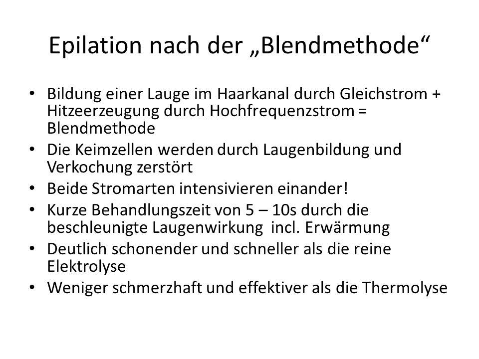 Epilation nach der Blendmethode Bildung einer Lauge im Haarkanal durch Gleichstrom + Hitzeerzeugung durch Hochfrequenzstrom = Blendmethode Die Keimzel