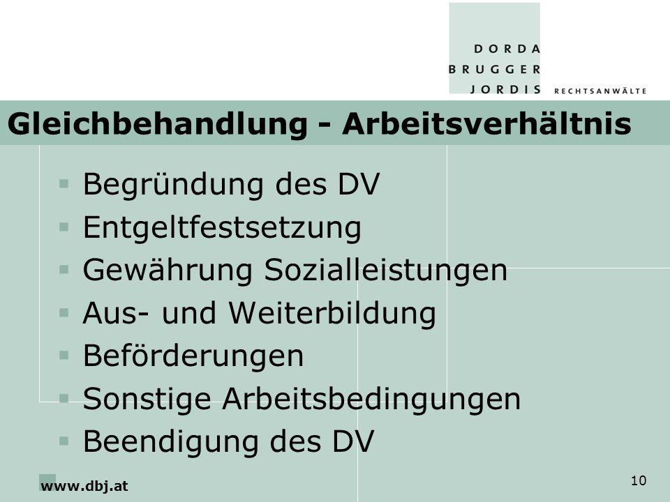 www.dbj.at 10 Gleichbehandlung - Arbeitsverhältnis Begründung des DV Entgeltfestsetzung Gewährung Sozialleistungen Aus- und Weiterbildung Beförderunge