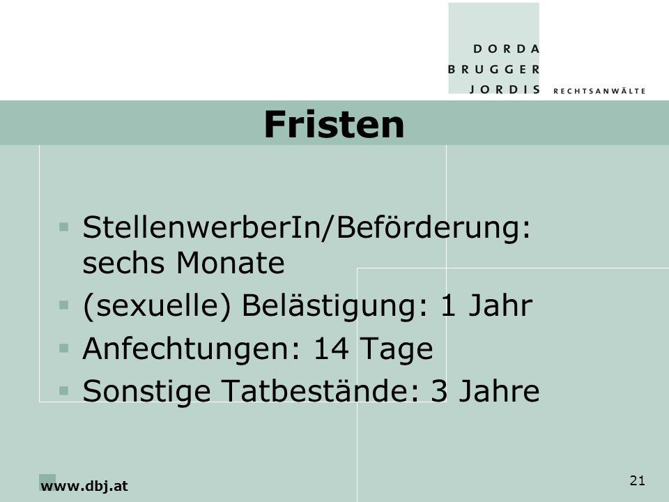 www.dbj.at 21 Fristen StellenwerberIn/Beförderung: sechs Monate (sexuelle) Belästigung: 1 Jahr Anfechtungen: 14 Tage Sonstige Tatbestände: 3 Jahre