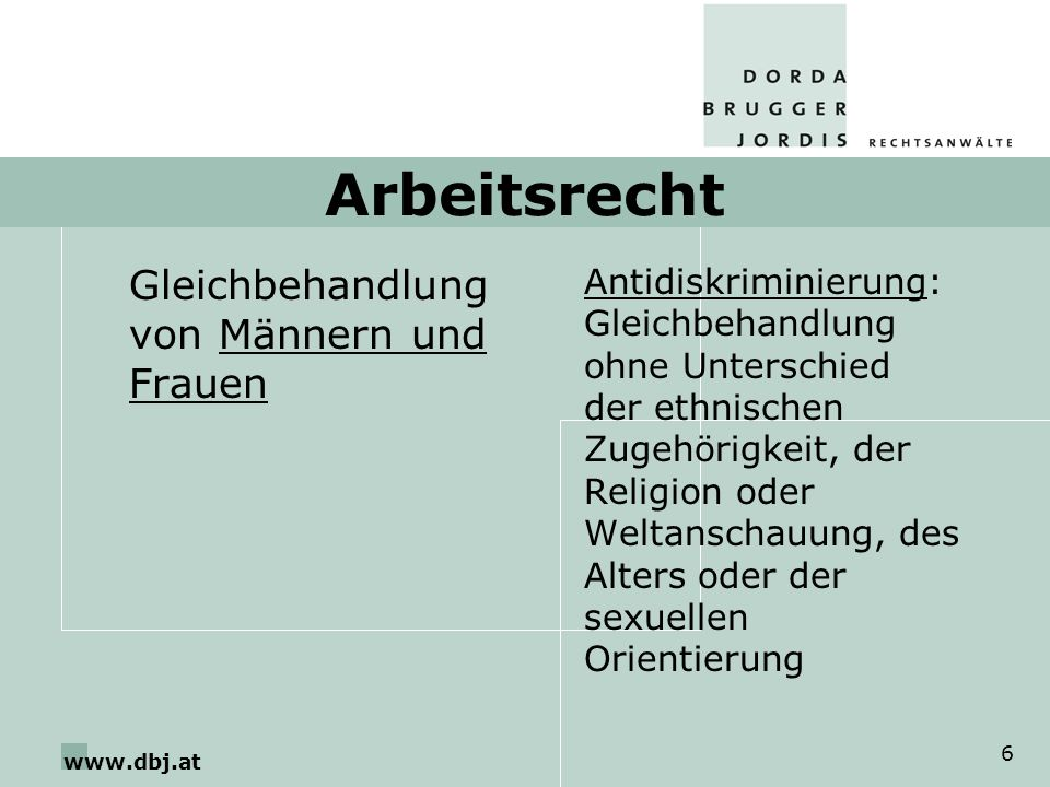 www.dbj.at 6 Arbeitsrecht Gleichbehandlung von Männern und Frauen Antidiskriminierung: Gleichbehandlung ohne Unterschied der ethnischen Zugehörigkeit,