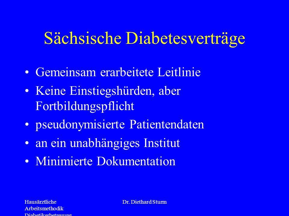 Hausärztliche Arbeitsmethodik Diabetikerbetreuung Dr. Diethard Sturm Sächsische Diabetesverträge Gemeinsam erarbeitete Leitlinie Keine Einstiegshürden