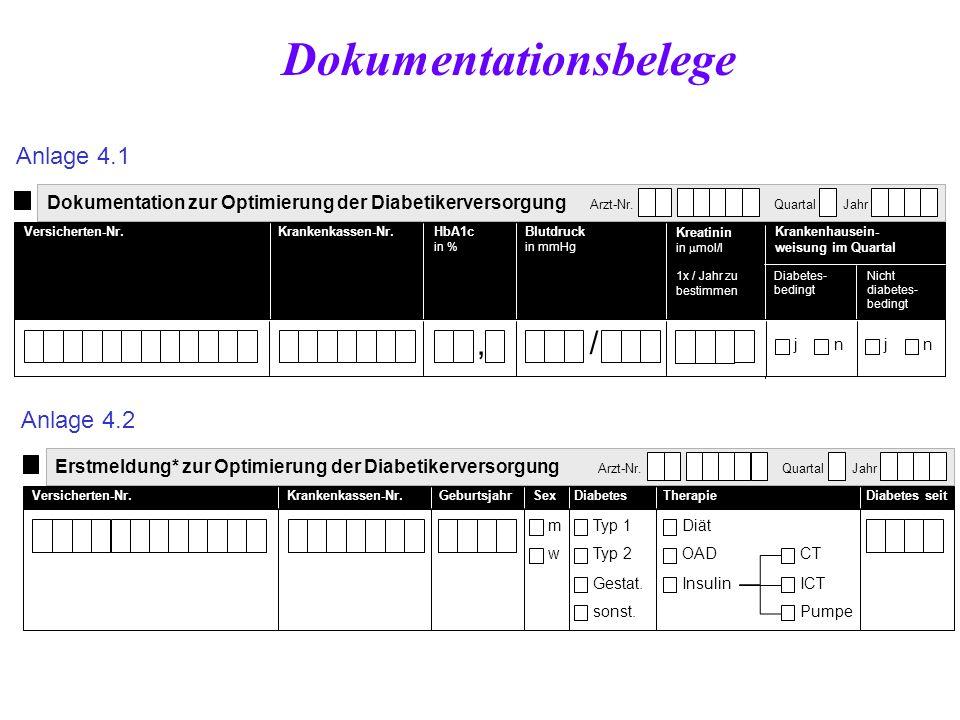 Dokumentation zur Optimierung der Diabetikerversorgung Arzt-Nr. Quartal Jahr Versicherten-Nr.Krankenkassen-Nr.HbA1c in % Blutdruck in mmHg Krankenhaus