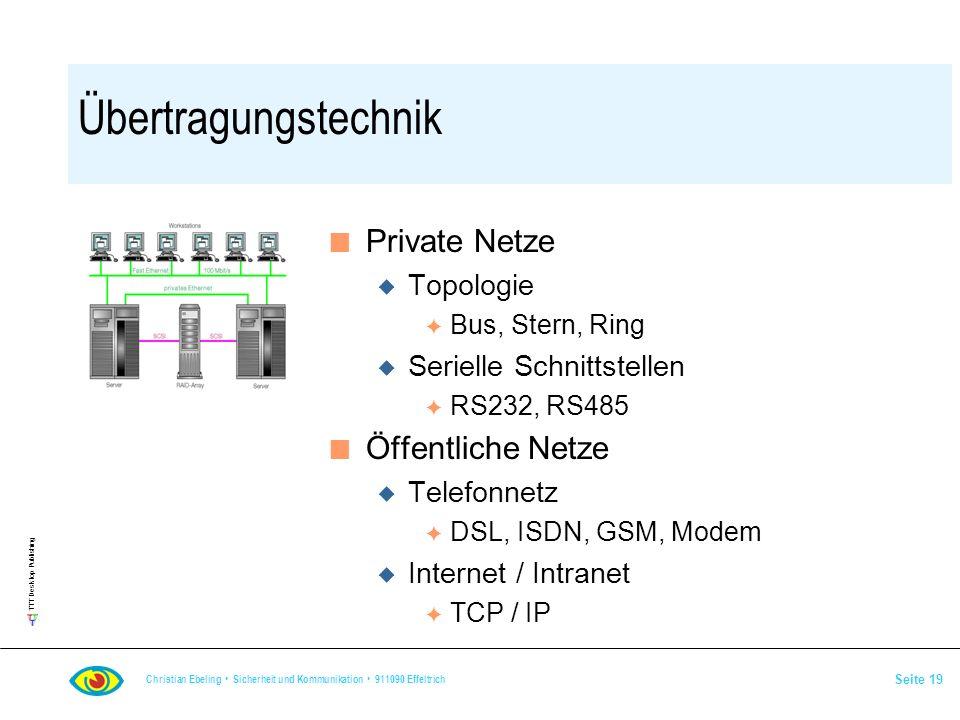TTT Desktop Publishing Christian Ebeling Sicherheit und Kommunikation 911090 Effeltrich Seite 19 Übertragungstechnik n Private Netze u Topologie F Bus