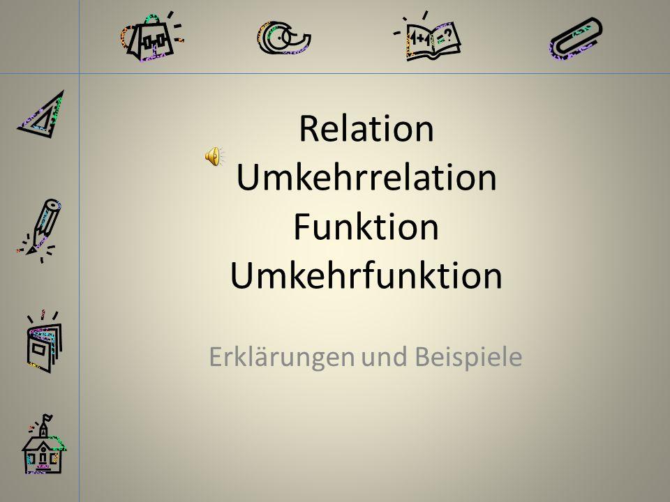 Relation Umkehrrelation Funktion Umkehrfunktion Erklärungen und Beispiele