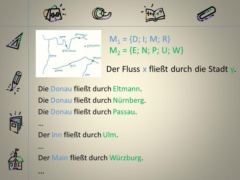Die Donau fließt durch Eltmann. Die Donau fließt durch Nürnberg. Die Donau fließt durch Passau. … Der Inn fließt durch Ulm. … Der Main fließt durch Wü