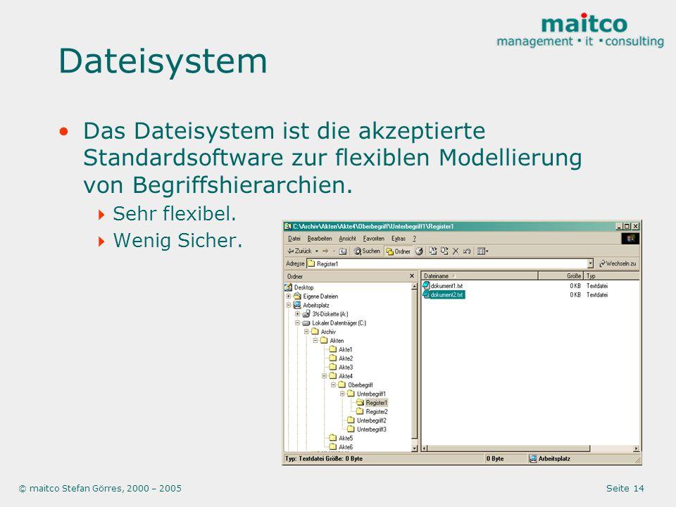 © maitco Stefan Görres, 2000 – 2005 Seite 14 Dateisystem Das Dateisystem ist die akzeptierte Standardsoftware zur flexiblen Modellierung von Begriffshierarchien.