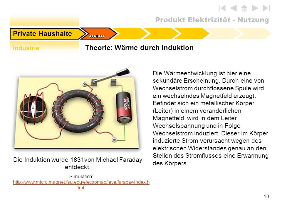 Produkt Elektrizität - Nutzung 10 Die Wärmeentwicklung ist hier eine sekundäre Erscheinung. Durch eine von Wechselstrom durchflossene Spule wird ein w