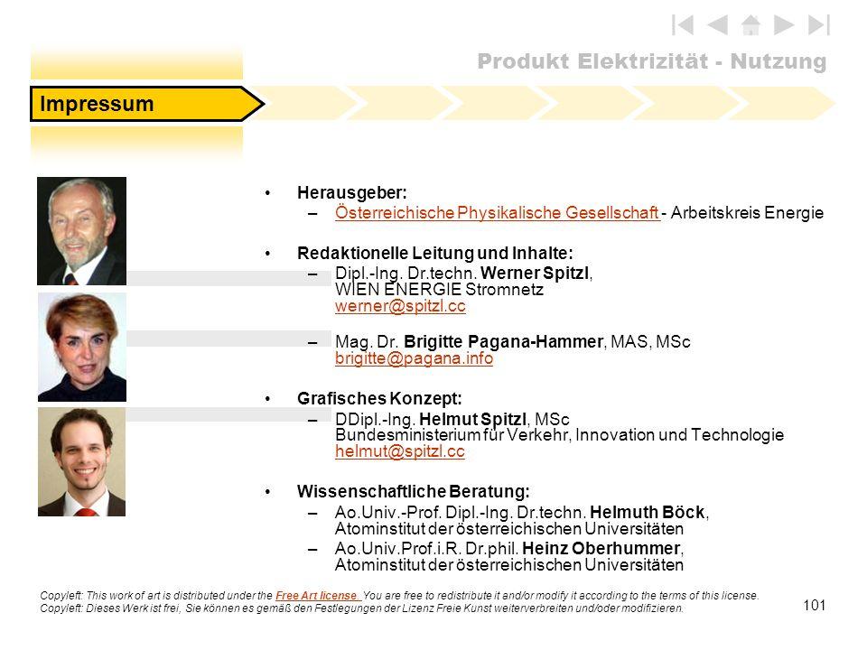 Produkt Elektrizität - Nutzung 101 Herausgeber: –Österreichische Physikalische Gesellschaft - Arbeitskreis EnergieÖsterreichische Physikalische Gesell