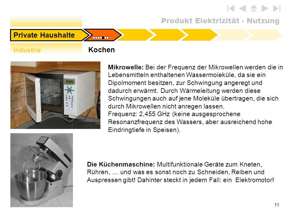 Produkt Elektrizität - Nutzung 11 Mikrowelle: Bei der Frequenz der Mikrowellen werden die in Lebensmitteln enthaltenen Wassermoleküle, da sie ein Dipo