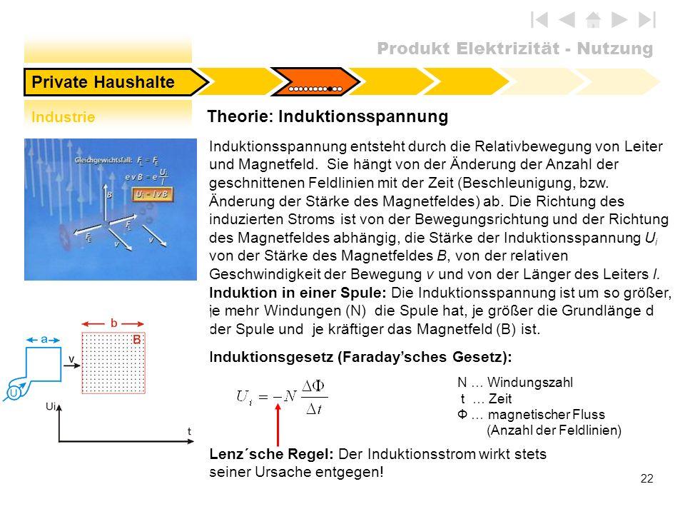Produkt Elektrizität - Nutzung 22 Theorie: Induktionsspannung Private Haushalte Induktionsgesetz (Faradaysches Gesetz): N … Windungszahl t … Zeit Ф …