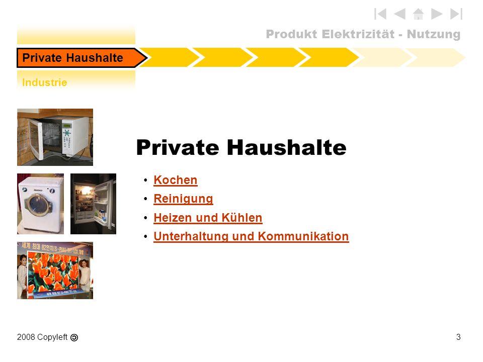 Produkt Elektrizität - Nutzung 2008 Copyleft3 Private Haushalte Kochen Reinigung Heizen und Kühlen Unterhaltung und Kommunikation Private Haushalte In