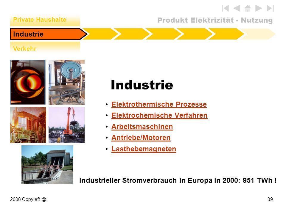 Produkt Elektrizität - Nutzung 2008 Copyleft39 Industrie Elektrothermische Prozesse Elektrochemische Verfahren Arbeitsmaschinen Antriebe/Motoren Lasth