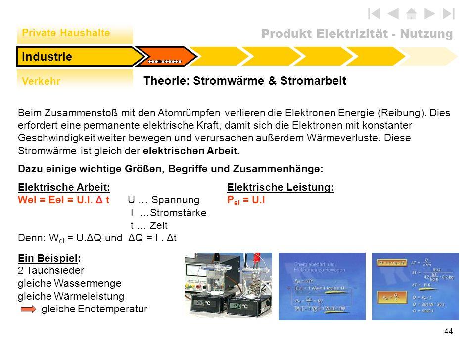 Produkt Elektrizität - Nutzung 44 Theorie: Stromwärme & Stromarbeit Private Haushalte Verkehr Industrie Beim Zusammenstoß mit den Atomrümpfen verliere