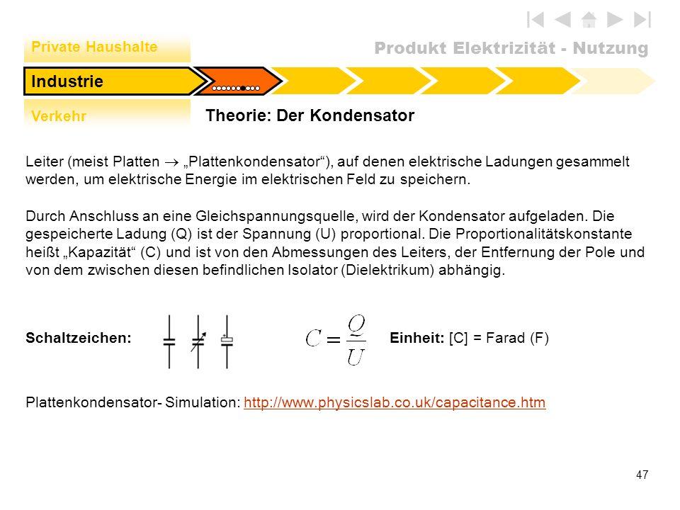 Produkt Elektrizität - Nutzung 47 Theorie: Der Kondensator Private Haushalte Verkehr Industrie Leiter (meist Platten Plattenkondensator), auf denen el