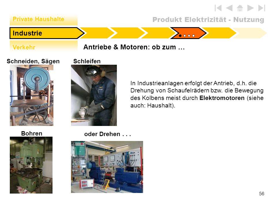 Produkt Elektrizität - Nutzung 56 Antriebe & Motoren: ob zum … Industrie Private Haushalte Verkehr Bohren Schleifen oder Drehen... In Industrieanlagen