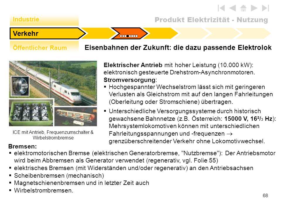 Produkt Elektrizität - Nutzung 68 Eisenbahnen der Zukunft: die dazu passende Elektrolok Verkehr Industrie Öffentlicher Raum ICE mit Antrieb, Frequenzu