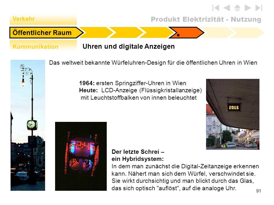 Produkt Elektrizität - Nutzung 91 Uhren und digitale Anzeigen Öffentlicher Raum Verkehr Kommunikation Das weltweit bekannte Würfeluhren-Design für die