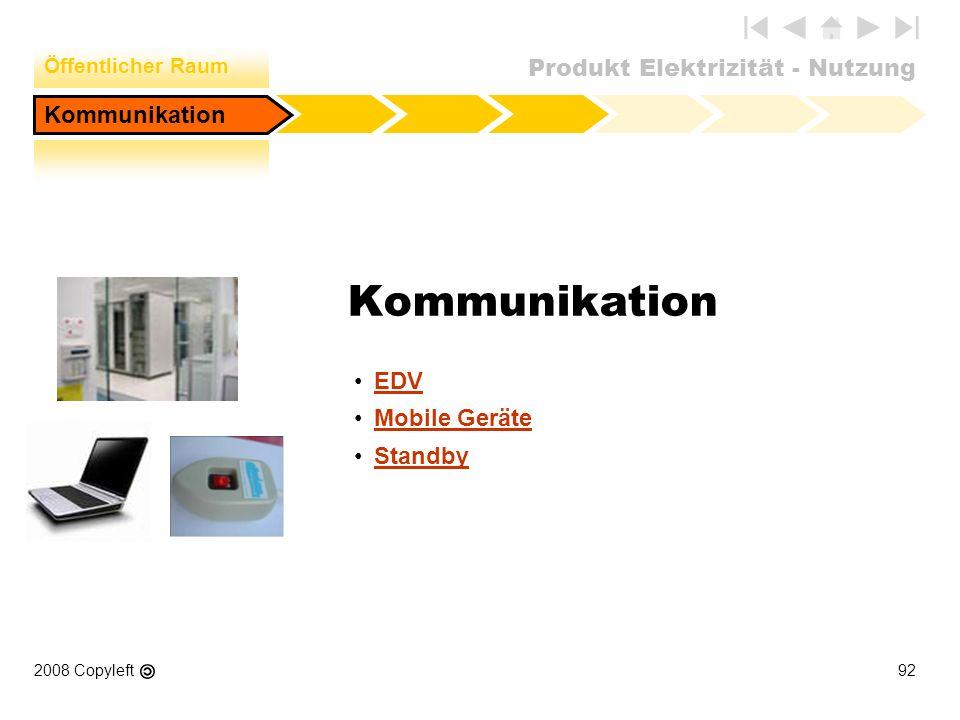 Produkt Elektrizität - Nutzung 2008 Copyleft92 Kommunikation EDV Mobile Geräte Standby Kommunikation Öffentlicher Raum