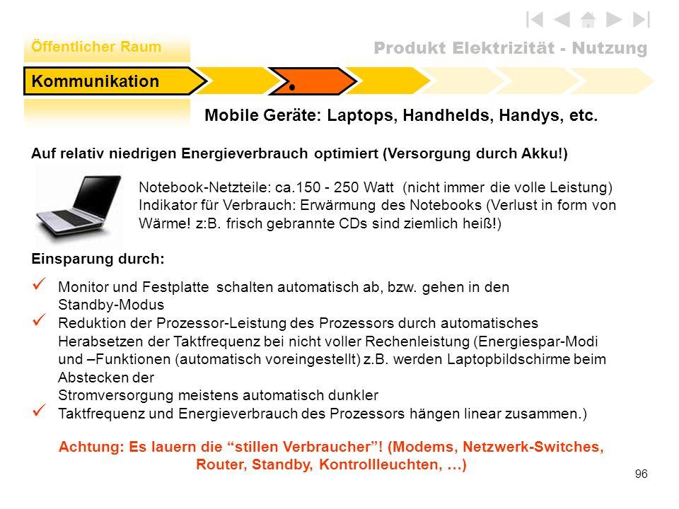 Produkt Elektrizität - Nutzung 96 Notebook-Netzteile: ca.150 - 250 Watt (nicht immer die volle Leistung) Indikator für Verbrauch: Erwärmung des Notebo