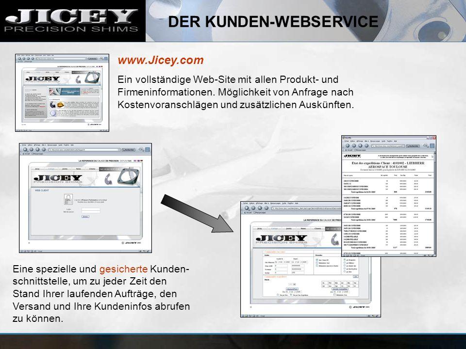 DER KUNDEN-WEBSERVICE Eine spezielle und gesicherte Kunden- schnittstelle, um zu jeder Zeit den Stand Ihrer laufenden Aufträge, den Versand und Ihre K
