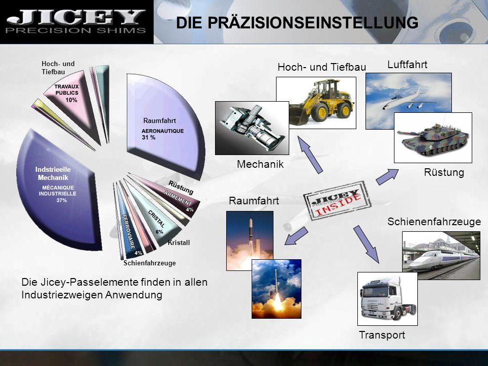 DIE PRÄZISIONSEINSTELLUNG Hoch- und Tiefbau Luftfahrt Schienenfahrzeuge Transport Raumfahrt Mechanik Rüstung Die Jicey-Passelemente finden in allen In