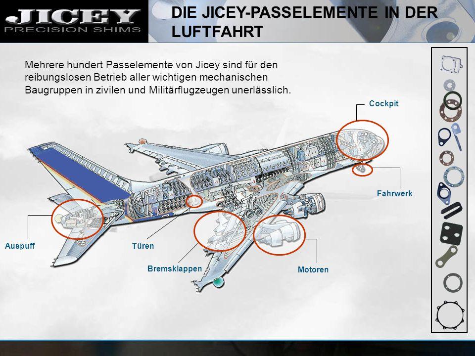 DIE JICEY-PASSELEMENTE IN DER LUFTFAHRT Cockpit Fahrwerk Motoren Bremsklappen TürenAuspuff Mehrere hundert Passelemente von Jicey sind für den reibung