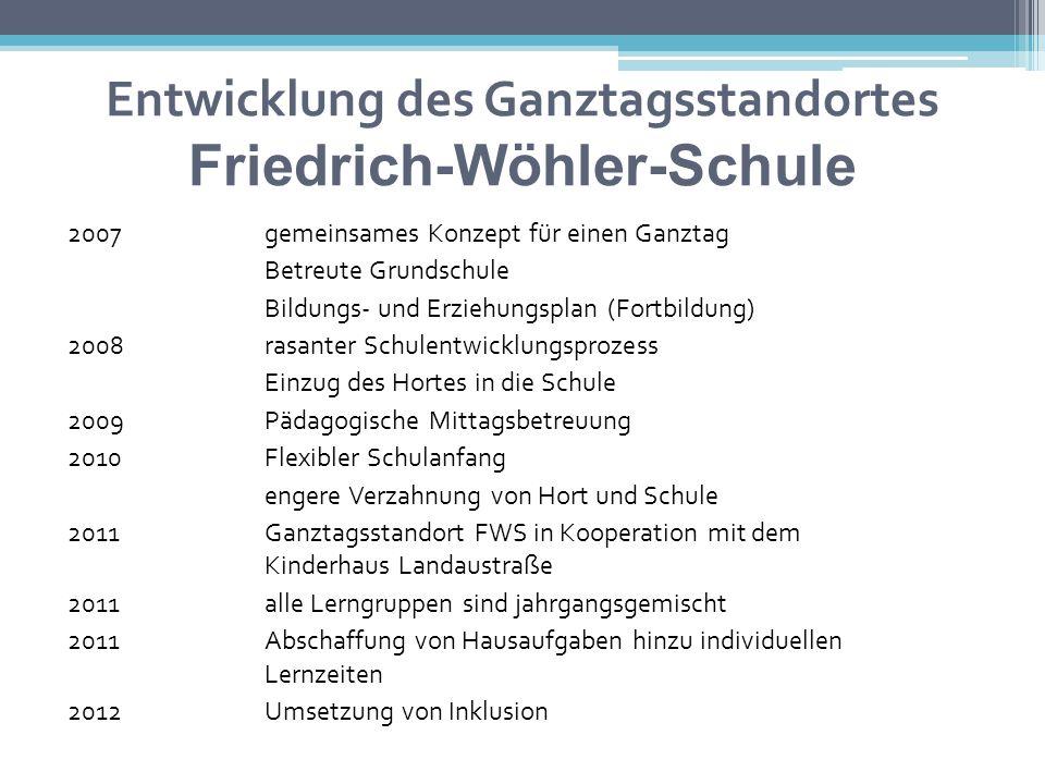 Entwicklung des Ganztagsstandortes Friedrich-Wöhler-Schule 2007 gemeinsames Konzept für einen Ganztag Betreute Grundschule Bildungs- und Erziehungspla