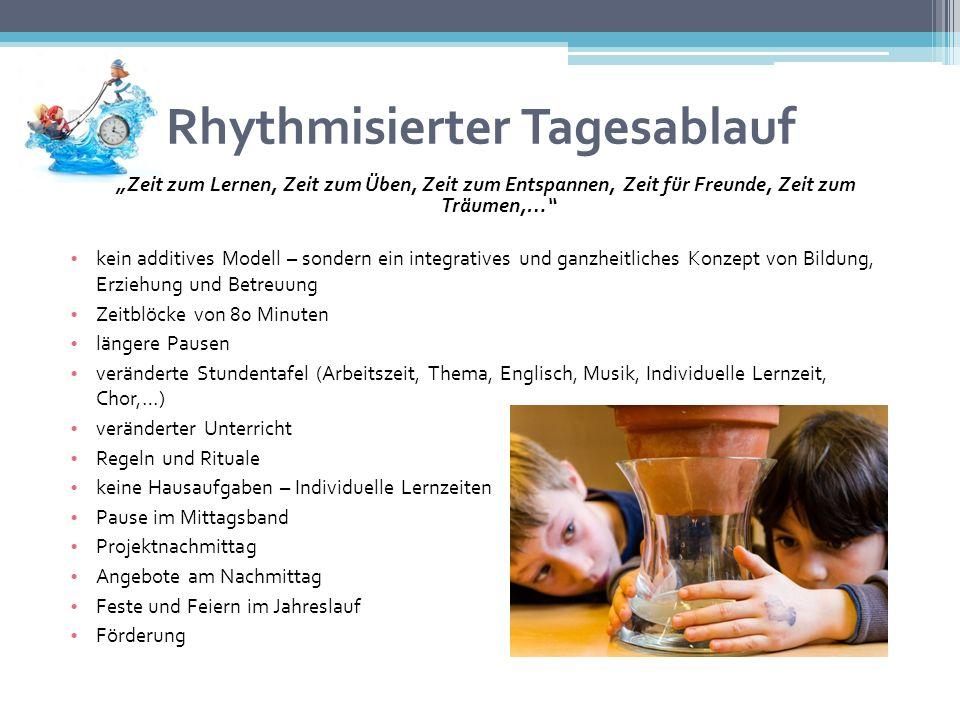 Rhythmisierter Tagesablauf Zeit zum Lernen, Zeit zum Üben, Zeit zum Entspannen, Zeit für Freunde, Zeit zum Träumen,… kein additives Modell – sondern e