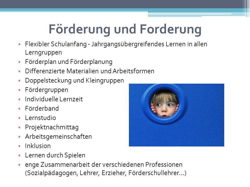 Förderung und Forderung Flexibler Schulanfang - Jahrgangsübergreifendes Lernen in allen Lerngruppen Förderplan und Förderplanung Differenzierte Materi