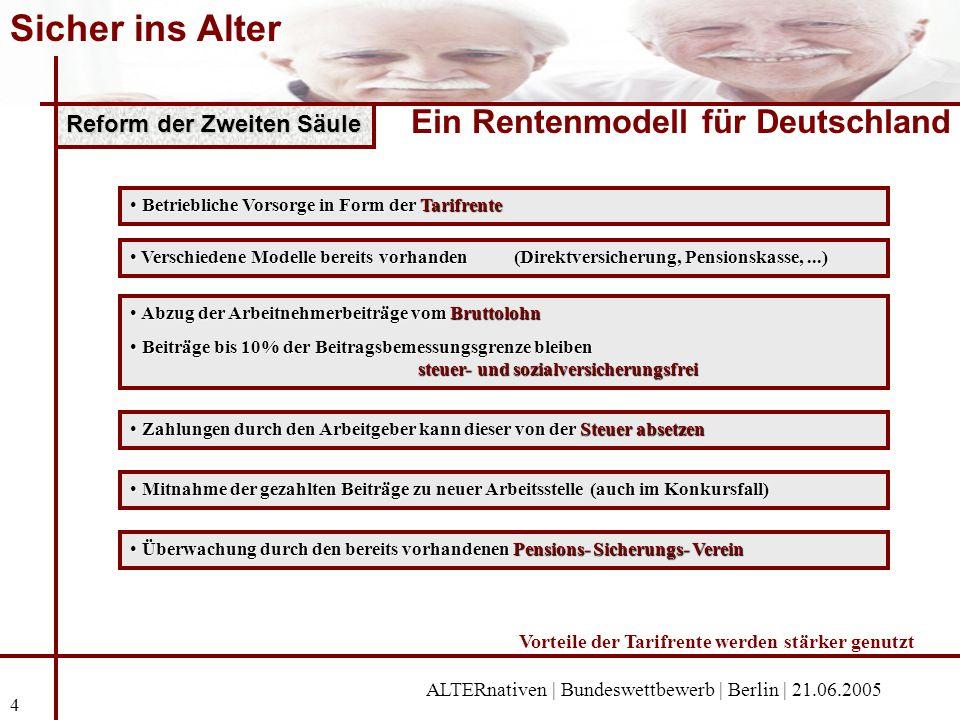 Sicher ins Alter Ein Rentenmodell für Deutschland ALTERnativen | Bundeswettbewerb | Berlin | 21.06.2005 4 Zweite Säule Reform der Zweiten Säule Abzug