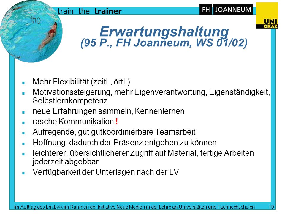 train the trainer Im Auftrag des bm:bwk im Rahmen der Initiative Neue Medien in der Lehre an Universitäten und Fachhochschulen 9 E-Lehren und E-Lernen