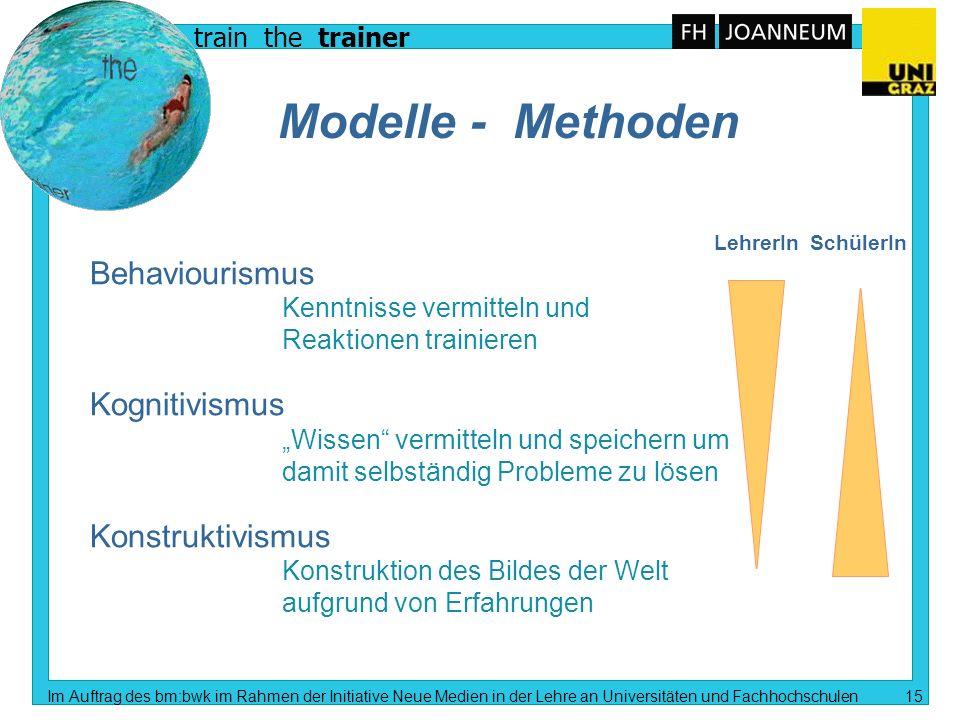 train the trainer Im Auftrag des bm:bwk im Rahmen der Initiative Neue Medien in der Lehre an Universitäten und Fachhochschulen 14 Lernumgebung Computerunterstütztes Lehren und Lernen Multimedial.
