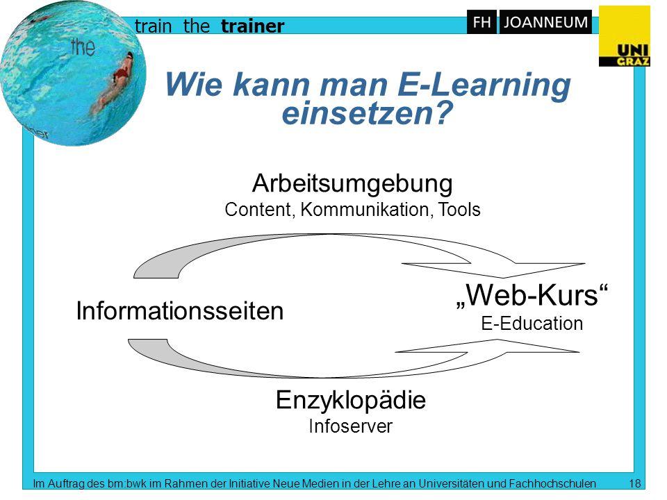 train the trainer Im Auftrag des bm:bwk im Rahmen der Initiative Neue Medien in der Lehre an Universitäten und Fachhochschulen 17 Informationstechnolo