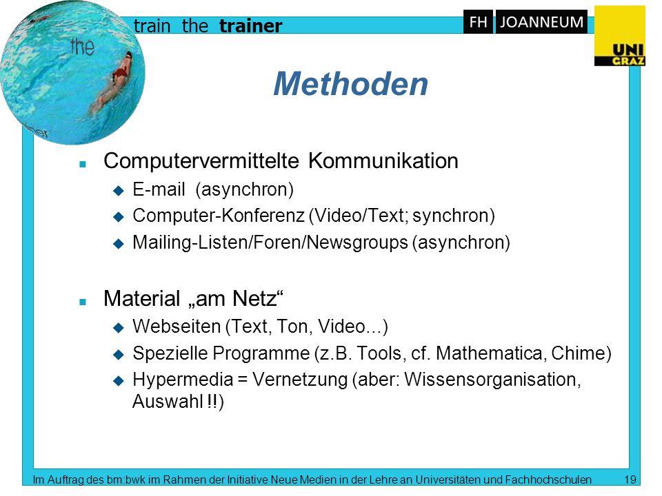 train the trainer Im Auftrag des bm:bwk im Rahmen der Initiative Neue Medien in der Lehre an Universitäten und Fachhochschulen 18 Wie kann man E-Learn