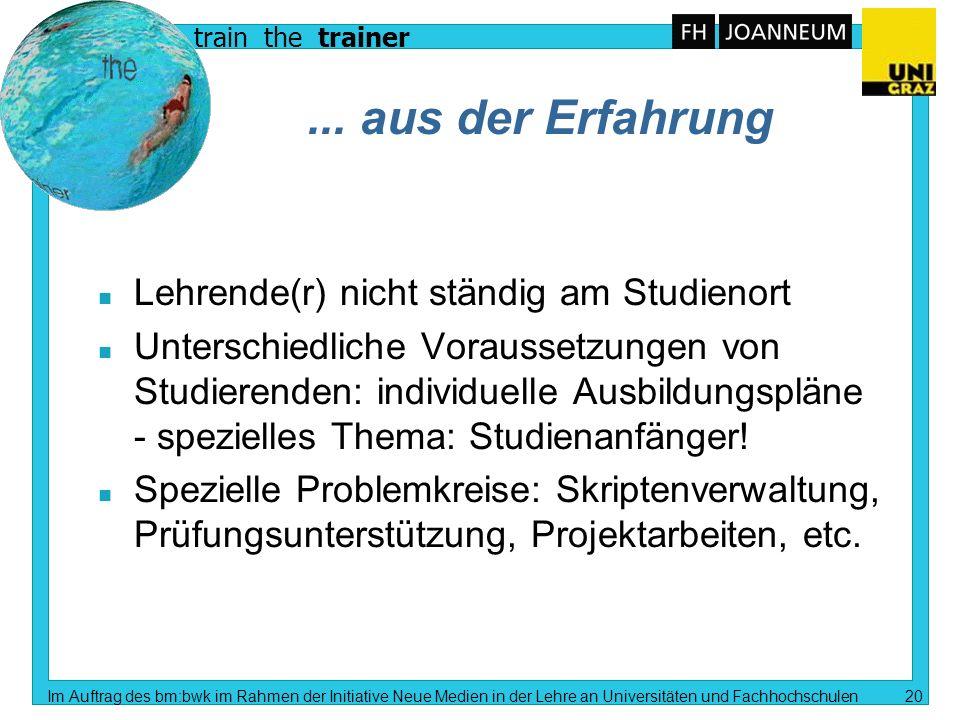 train the trainer Im Auftrag des bm:bwk im Rahmen der Initiative Neue Medien in der Lehre an Universitäten und Fachhochschulen 19 Methoden n Computerv