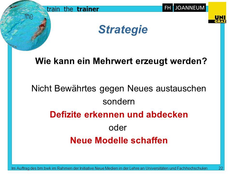 train the trainer Im Auftrag des bm:bwk im Rahmen der Initiative Neue Medien in der Lehre an Universitäten und Fachhochschulen 21 Fragestellungen n We
