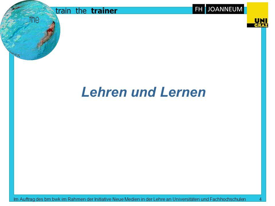 train the trainer Im Auftrag des bm:bwk im Rahmen der Initiative Neue Medien in der Lehre an Universitäten und Fachhochschulen 3 Inhalt n Lehren und L