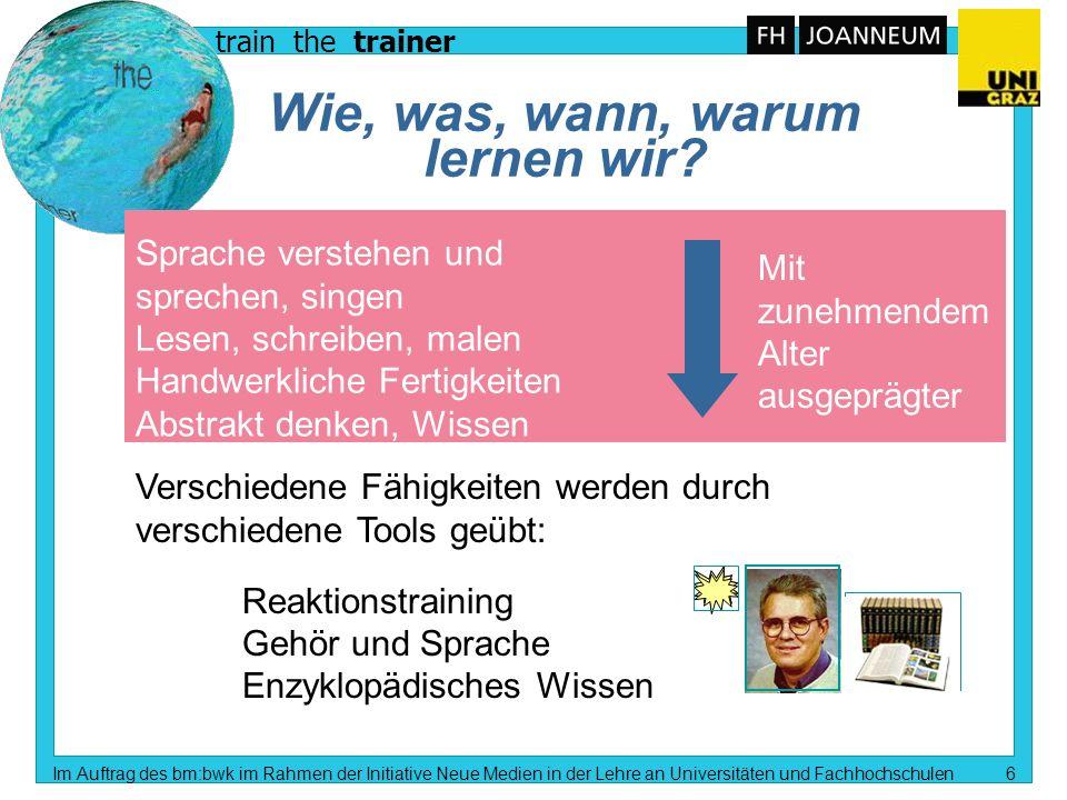 train the trainer Im Auftrag des bm:bwk im Rahmen der Initiative Neue Medien in der Lehre an Universitäten und Fachhochschulen 5 Unsere Umwelt Mit wel