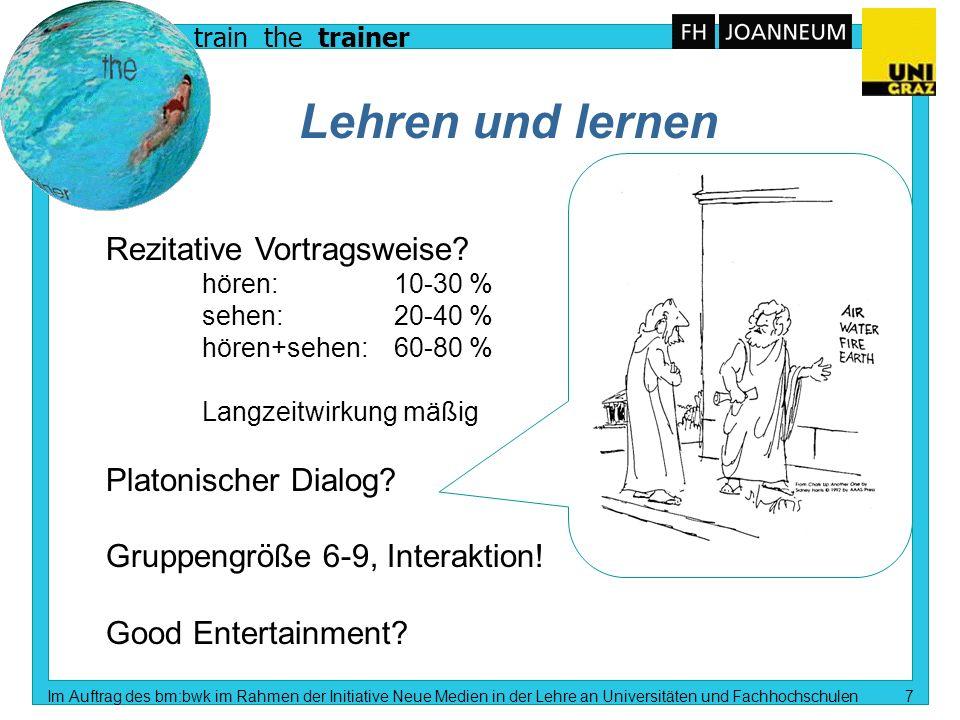 train the trainer Im Auftrag des bm:bwk im Rahmen der Initiative Neue Medien in der Lehre an Universitäten und Fachhochschulen 6 Wie, was, wann, warum