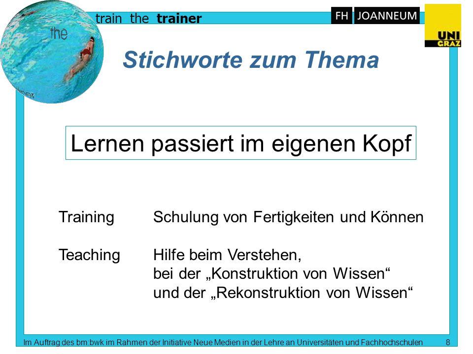 train the trainer Im Auftrag des bm:bwk im Rahmen der Initiative Neue Medien in der Lehre an Universitäten und Fachhochschulen 7 Lehren und lernen Rez