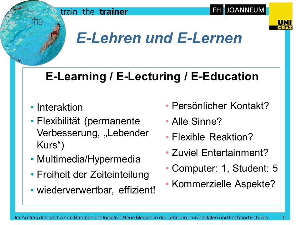train the trainer Im Auftrag des bm:bwk im Rahmen der Initiative Neue Medien in der Lehre an Universitäten und Fachhochschulen 8 Stichworte zum Thema