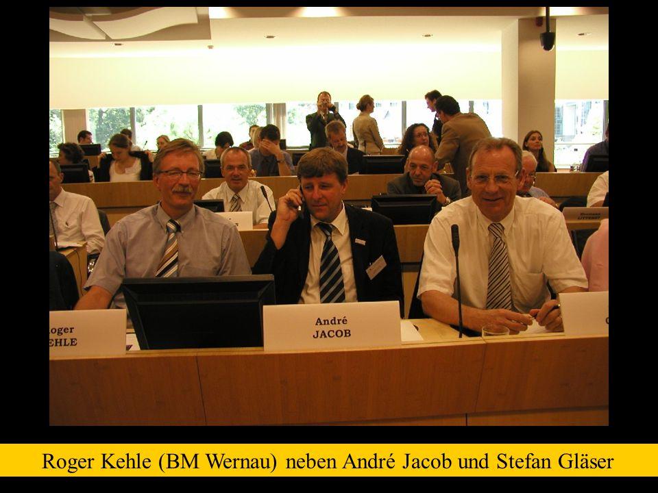 Roger Kehle (BM Wernau) neben André Jacob und Stefan Gläser