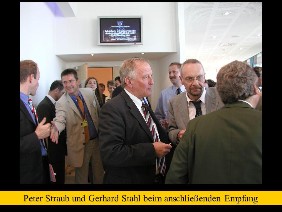 Peter Straub und Gerhard Stahl beim anschließenden Empfang