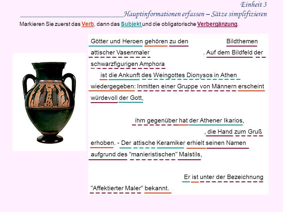 Einheit 3 __________________________Hauptinformationen erfassen – Sätze simplifizieren Götter und Heroen gehören zu den bevorzugten Bildthemen attisch