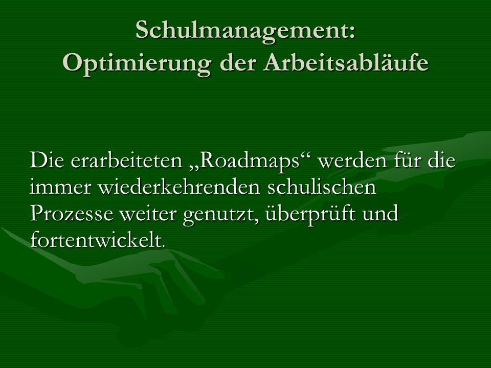 Schulmanagement: Optimierung der Arbeitsabläufe Die erarbeiteten Roadmaps werden für die immer wiederkehrenden schulischen Prozesse weiter genutzt, üb